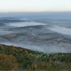 Colline nebbiose all'alba sotto Buriano