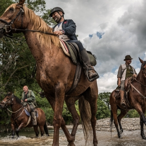 antica via clodia, cavalli sul guado dell'albegna