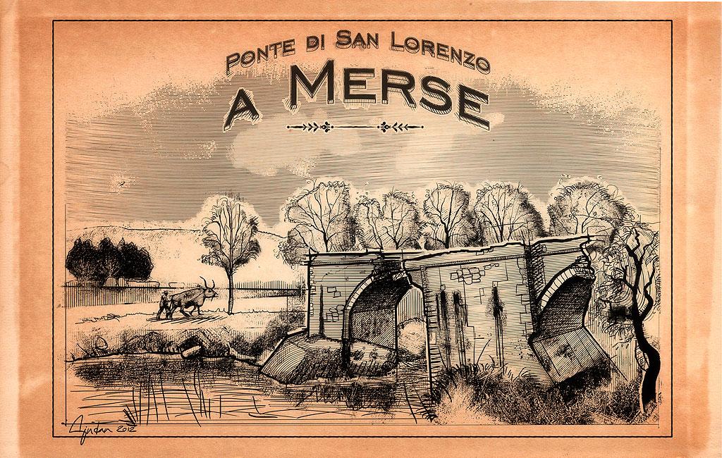 Stampa d'epoca: Ponte di San Lorenzo